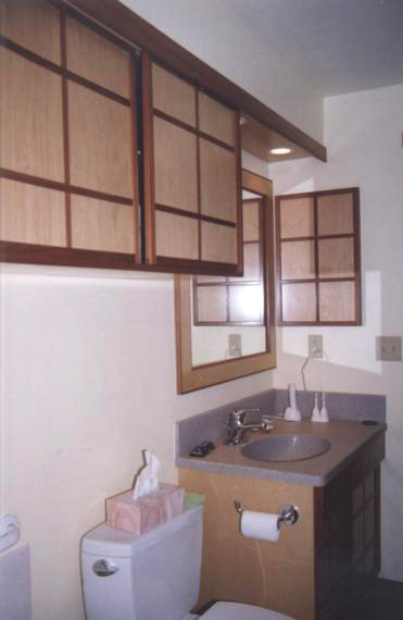 Bathroom remodel, sliding door cabinet