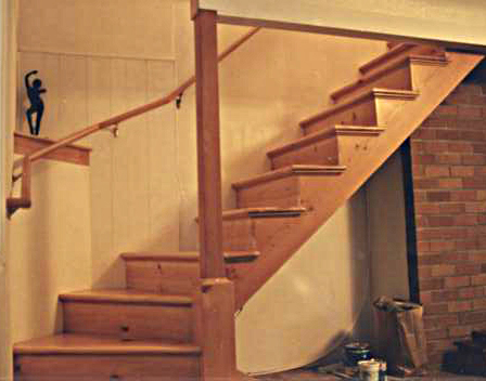 Softwood stair to studio workspace