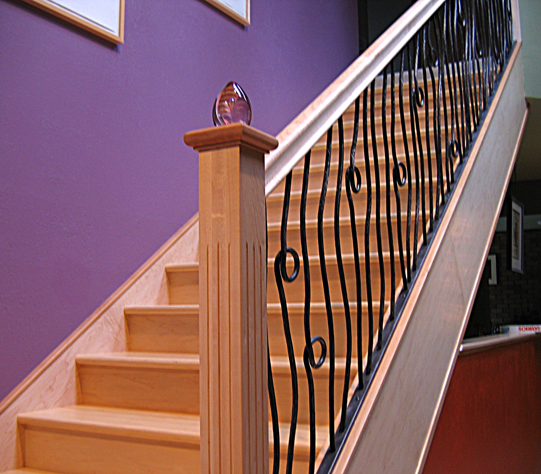 Bamboo and maple stair, ironwork by Tim Foley