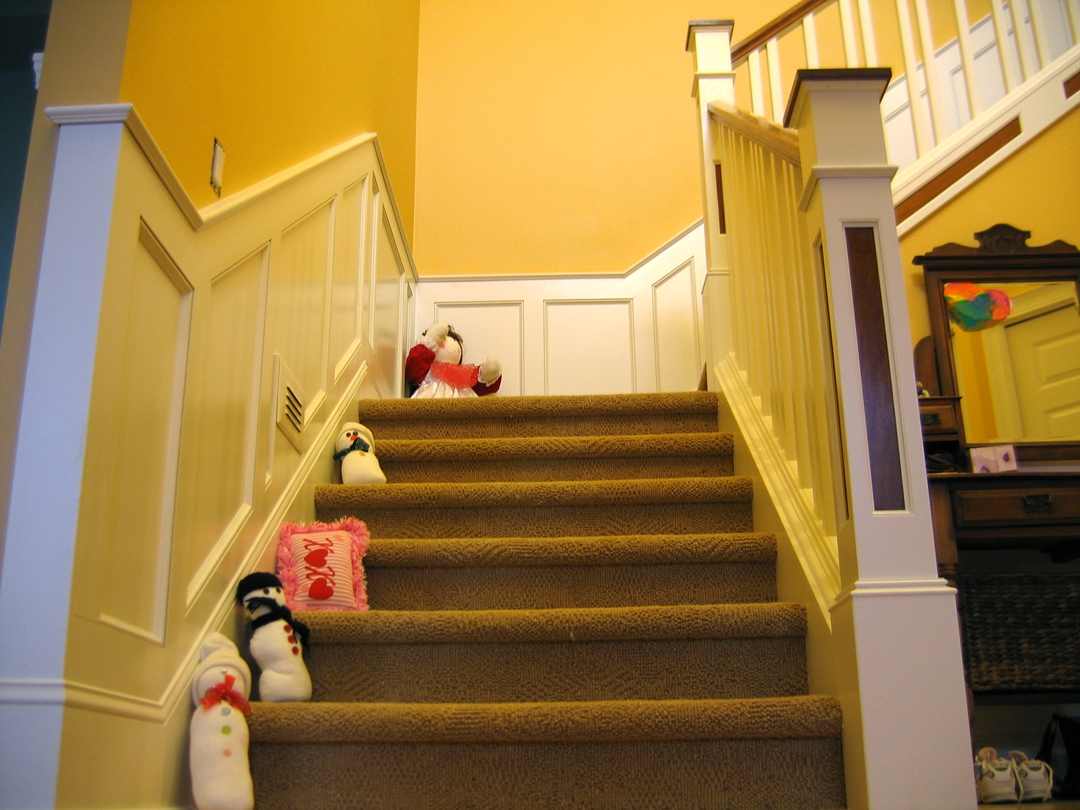 Renovated stair with new balustrade and wainscot