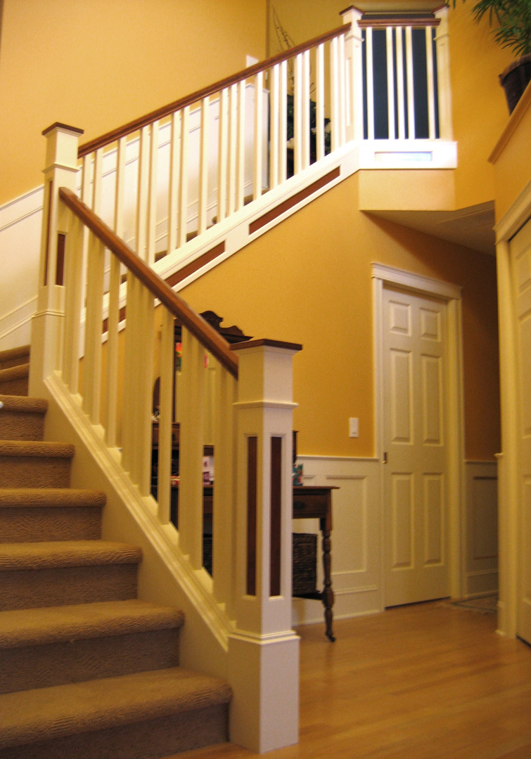 Wainscot stair with unique baluster spacing