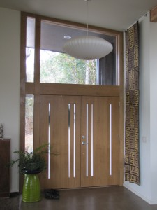 Oregon white oak double entry door, interior view